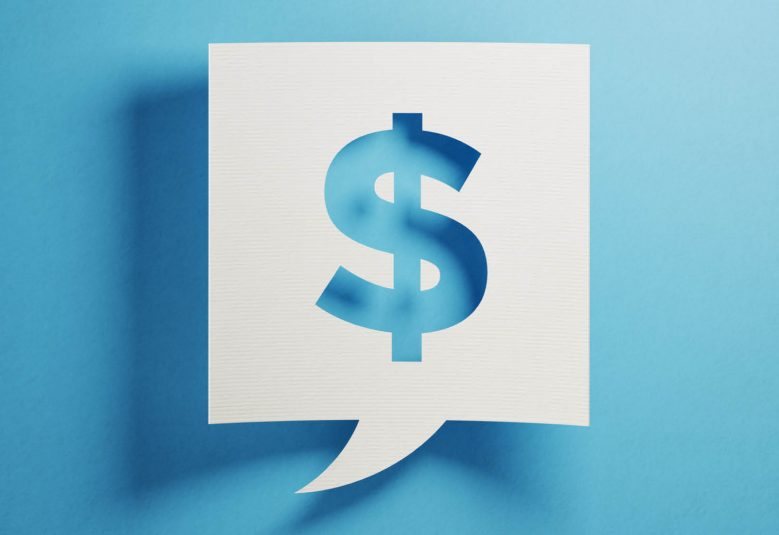 Blue dollar sign on a white background