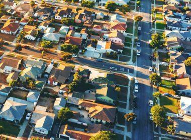 Aerial view a residential neighbourhood