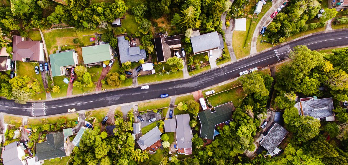 Aerial view of a residential street