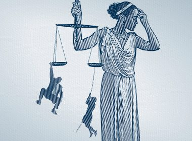 Illustration of Lady Justice holding scales with a person hanging from each side