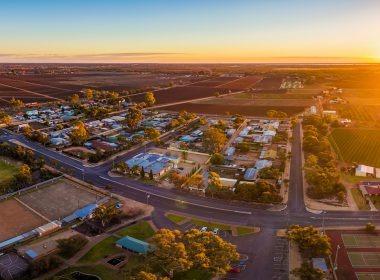 Aerial panorama of Monash - small town in South Australia at sunset