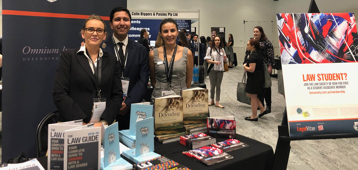 Representatives from the Law Society of NSW man a stall at the 2019 Law Careers Fair.